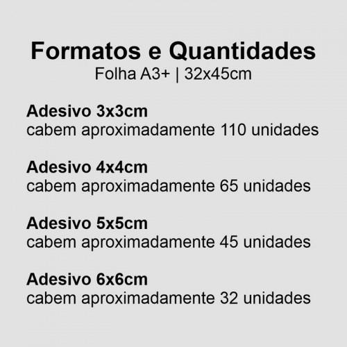 Adesivo Vinil BRANCO A3+ 4/0 + MEIO CORTE