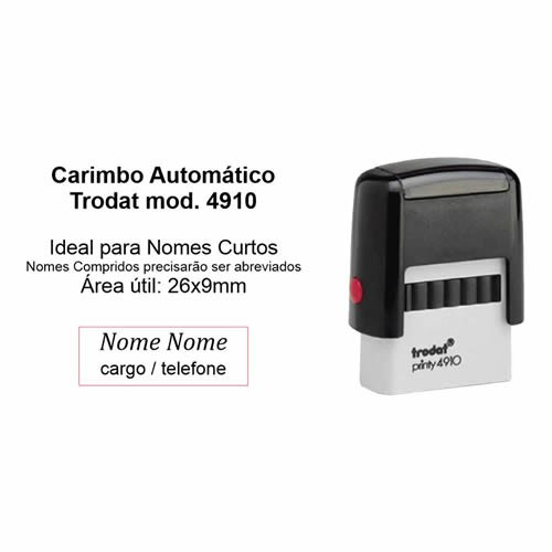 Carimbo Automático modelo 4910 P2 26x9mm