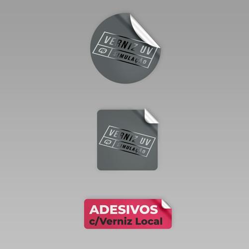 Adesivo Vinil OURO ESCOVADO A3+ 4/0 + MEIO CORTE + VERNIZ LOCAL