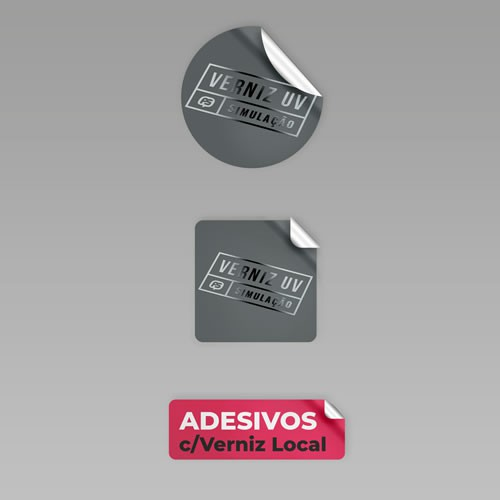 Adesivo Vinil AÇO ESCOVADO A3+ 4/0 + MEIO CORTE + VERNIZ LOCAL